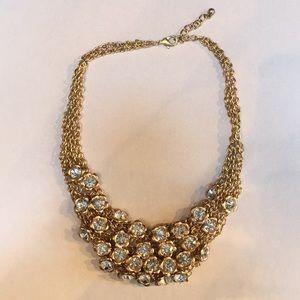 Gold rhinestone statement necklace new
